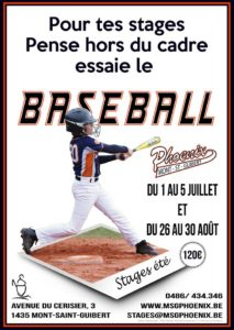 Stage de baseball Mont-St-Guibert Phoenix