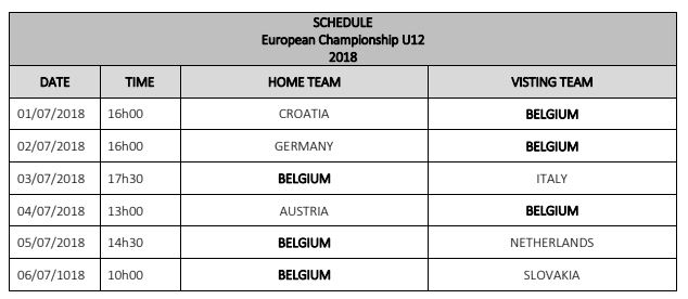 programme u12 Belgique